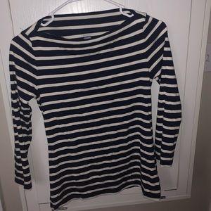 Navy blue & white striped shirt